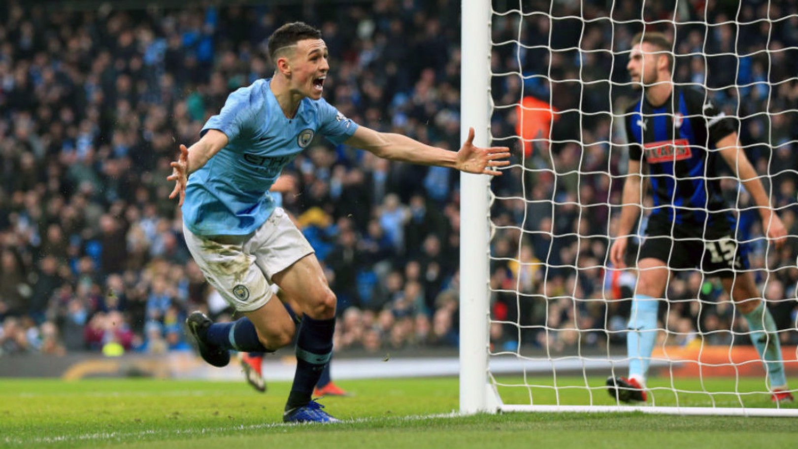 MAGIC MOMENT: Phil Foden celebrates his first senior goal at the Etihad in Sunday's FA Cup win over Rotherham