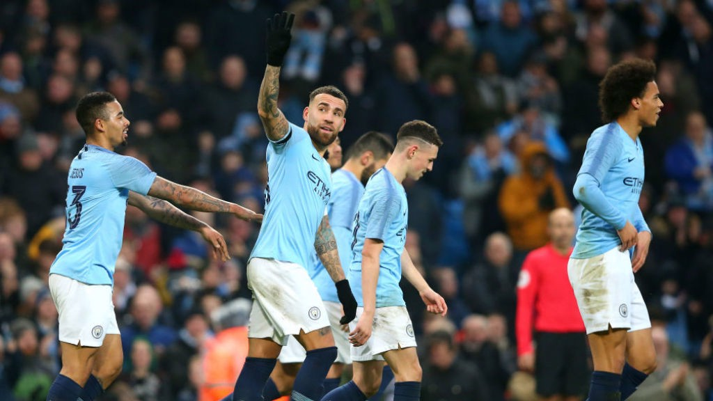 GENERAL ORDERS: Nicolas Otamendi is all smiles after his powerful header