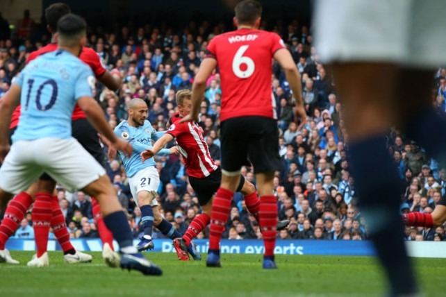 SILVA BULLET: Our Spanish maestro David Silva smashes home our third goal