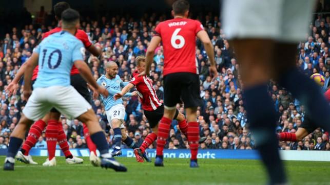 SILVA BULLET: Our Spanish maestro David Silva smashes home our third goal