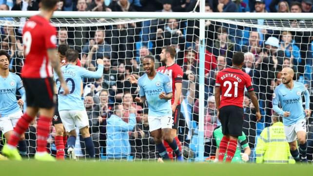 RAZ-AMATAZ: Raheem Sterling celebrates after scoring our fourth goal on the stroke of half-time