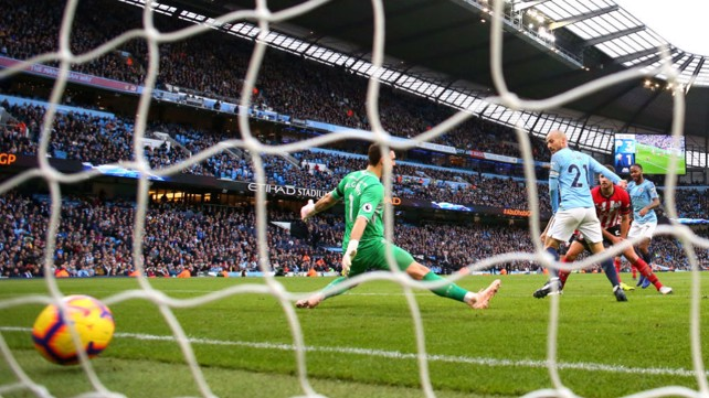 FAB FOUR: The ball nestles in the back of the Southampton net after Raheem Sterling's strike