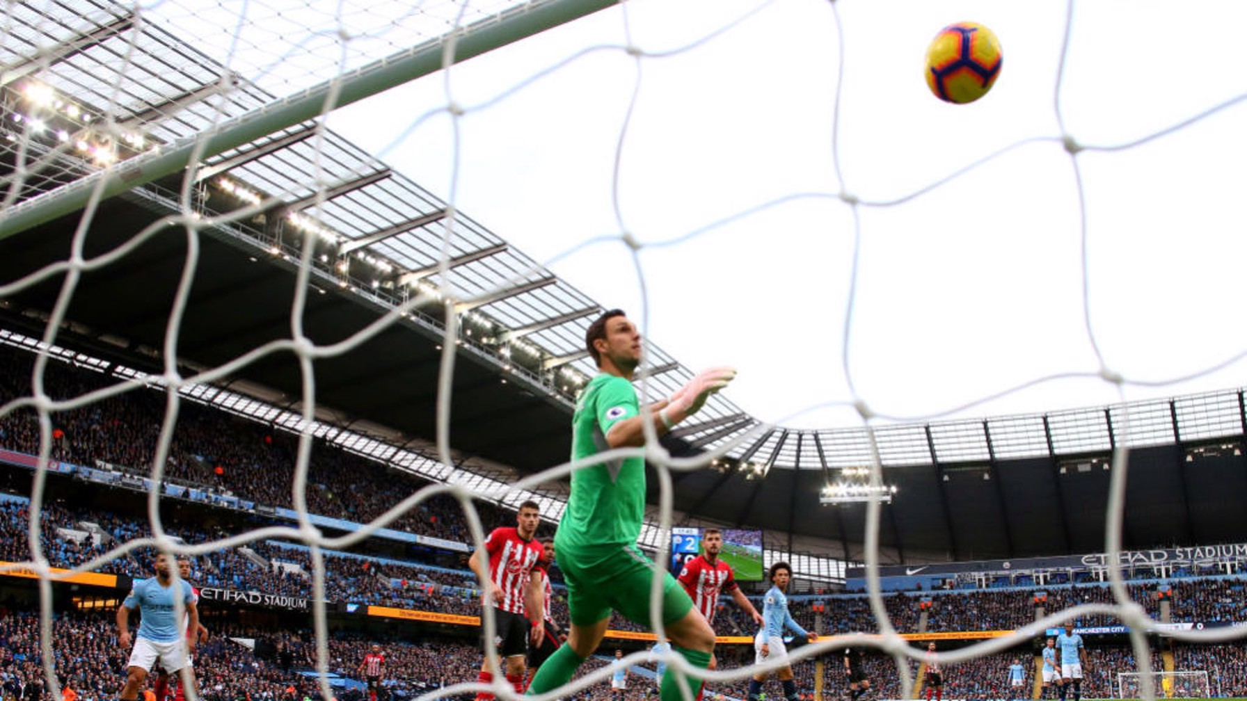NET GAIN: Saints keeper Alex McCarthy can only look on as David Silva's shot nestles in the back of the net