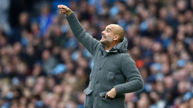 LEADING MAN: Pep Guardiola fires out some instructions to his players
