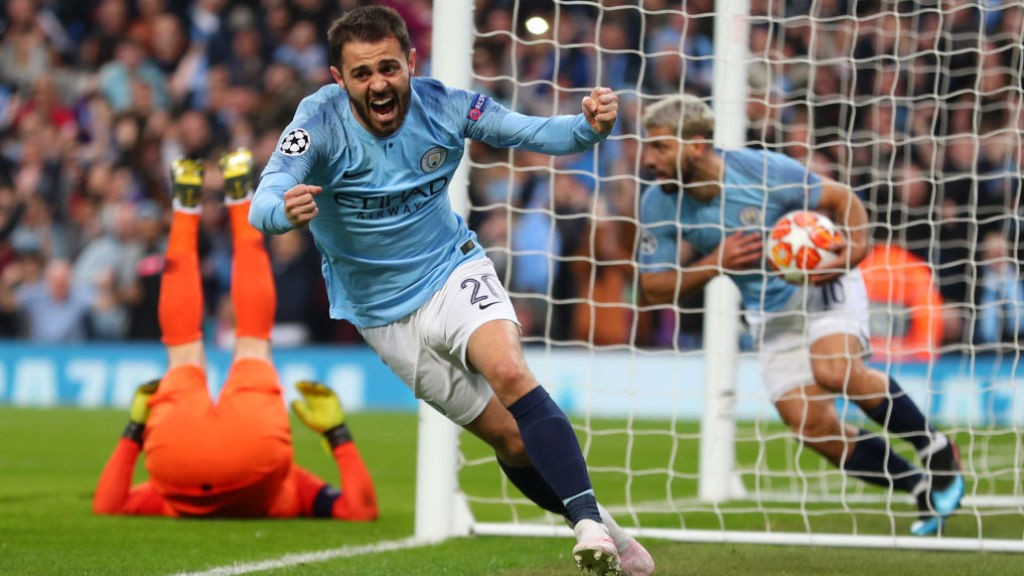 SILVA SALVO: Bernardo Silva starts the celebrations after Danny Rose's own goal had brought the scores level on the night at 2-2