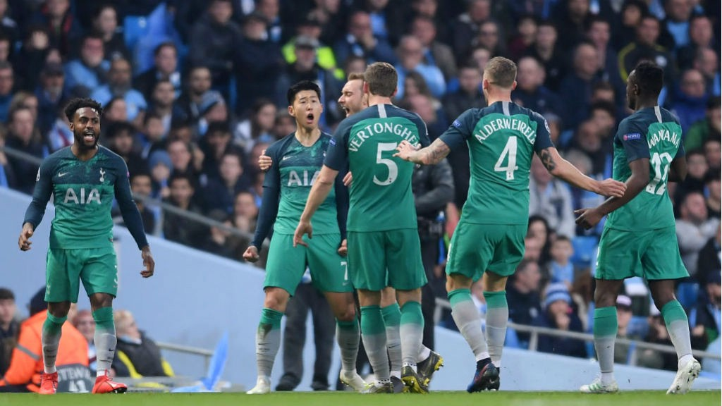 CAPITAL GAIN: Son and his Spurs team-mates celebrate after his early brace