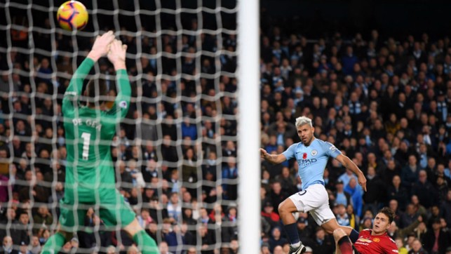 JUST TWO GOOD: Sergio Aguero slams home City's second goal with a thunderous strike