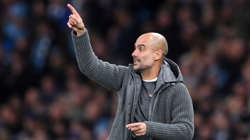 PEP'S POINTER: City boss Pep Guardiola urges the Blues on