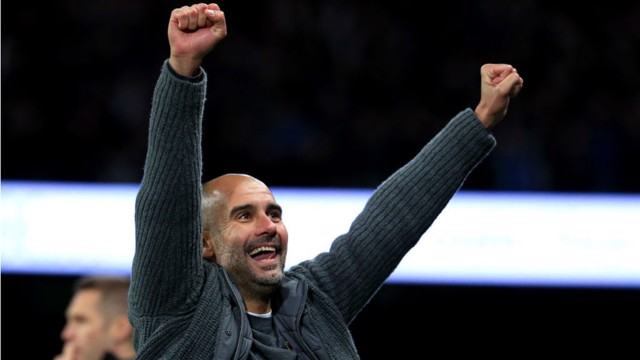 SUPER SUNDAY: Pep Guardiola celebrates a superb derby win