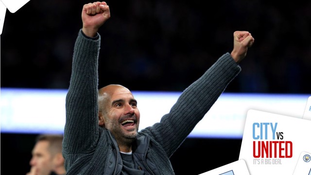 DERBY DELIGHT: Pep Guardiola savours City's 3-1 win over United
