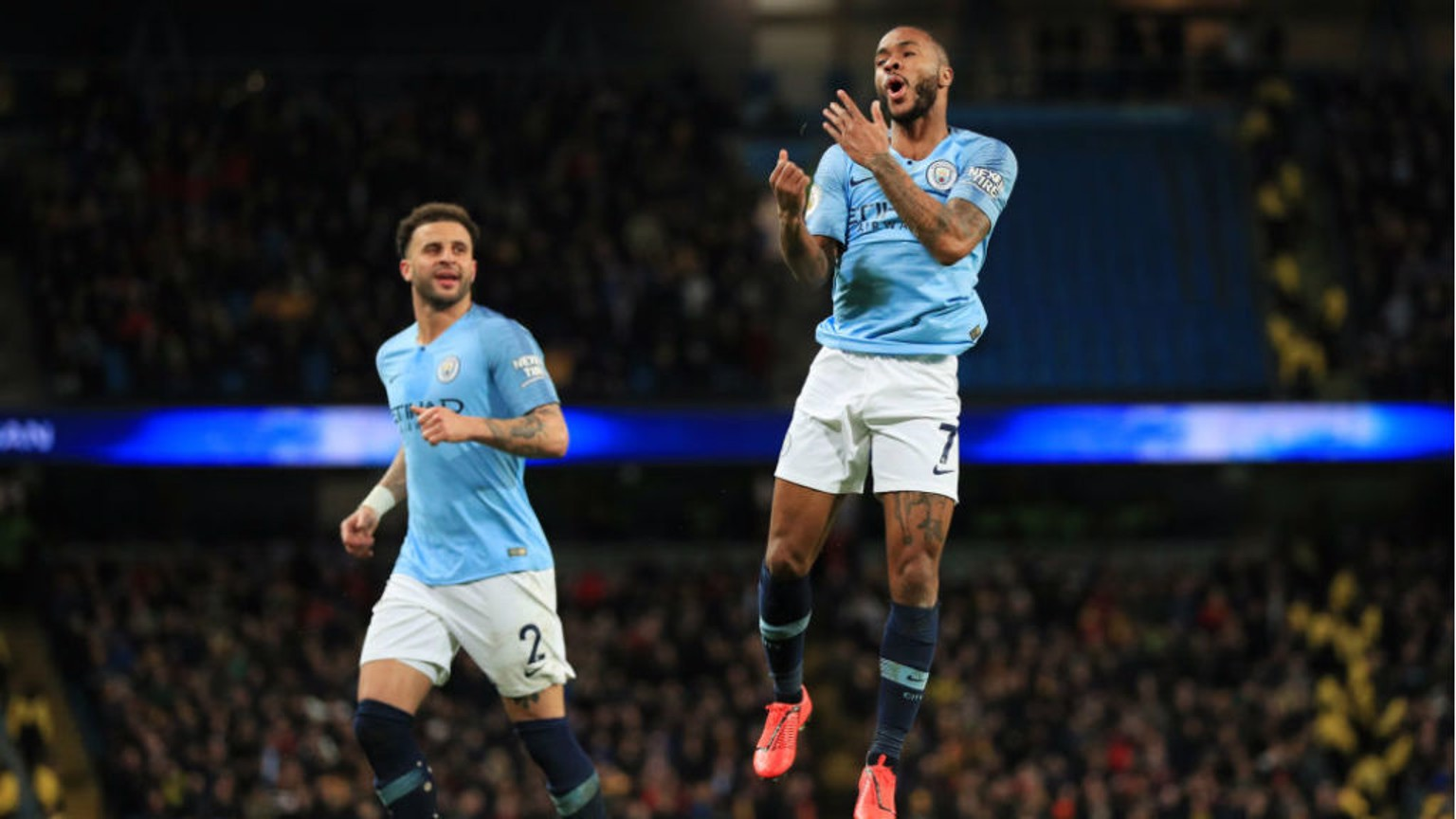 JUMPING FOR JOY: Raheem celebrates after sealing his hat-trick