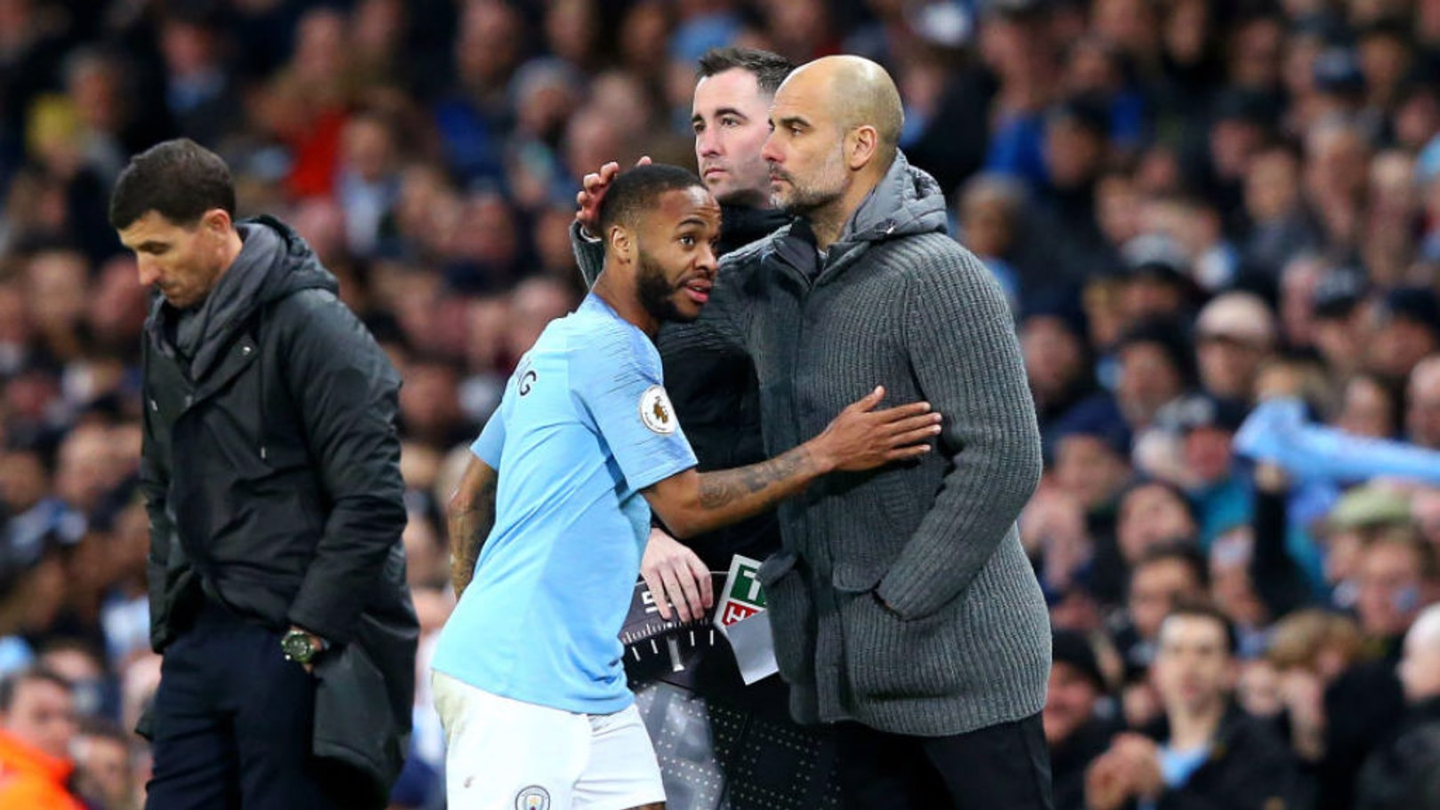 JOB DONE: Raz gets a deserved pat on the shoulder from boss Pep Guardiola