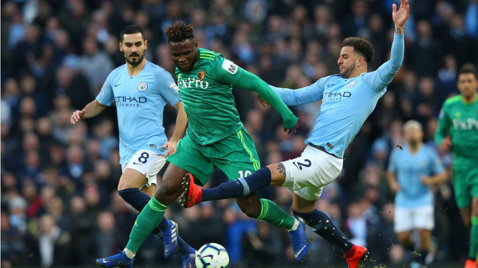 NO ENTRY: Kyle Walker puts a block on Isaac Success
