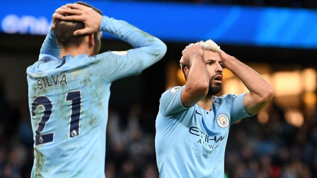 FRUSTRATION: Sergio Aguero and David Silva react as City come close to scoring the opener