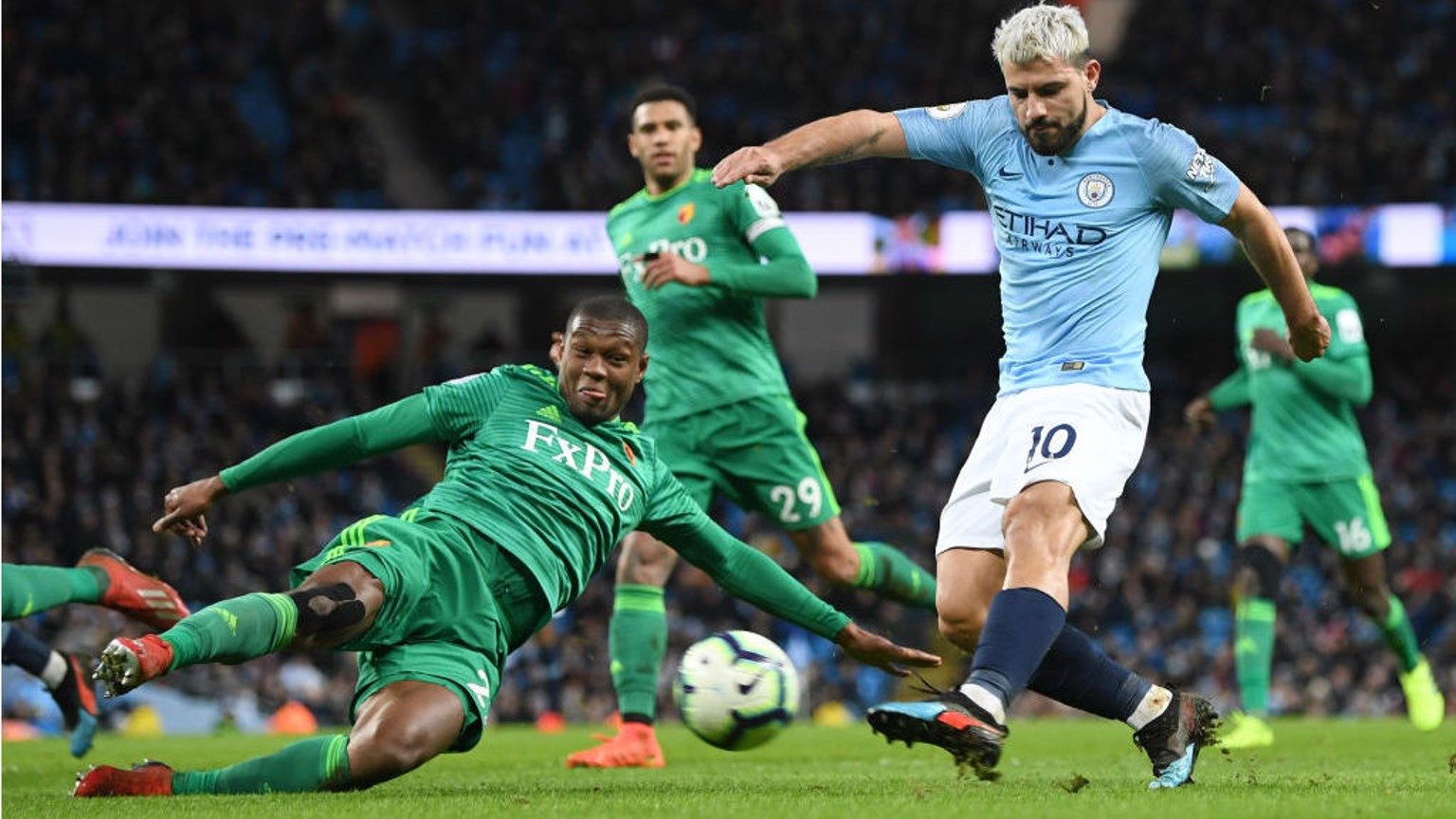 LAST GASP: Christian Kabasele slides in to block Sergio's power shot