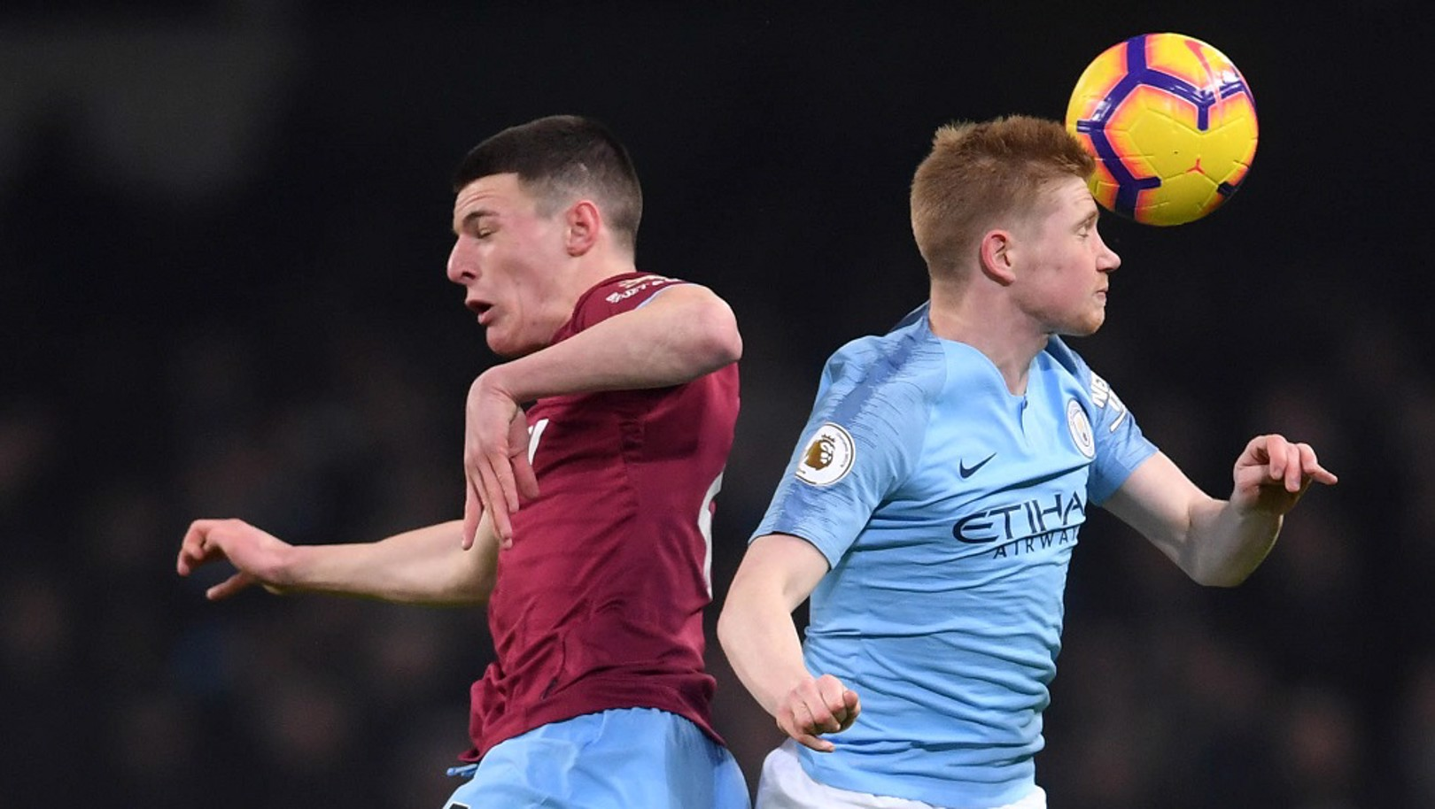 EYES WIDE SHUT: Kevin De Bruyne challenges Declan Rice