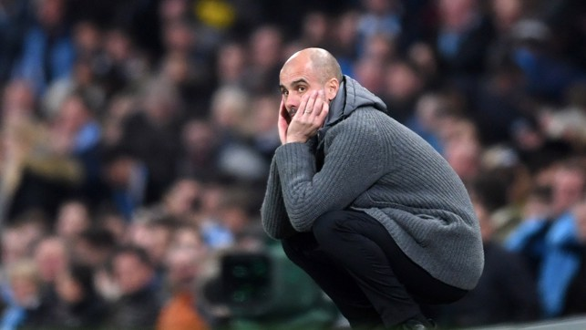 CROUCHING TIGER: Pep can't bear to watch as a chance goes begging
