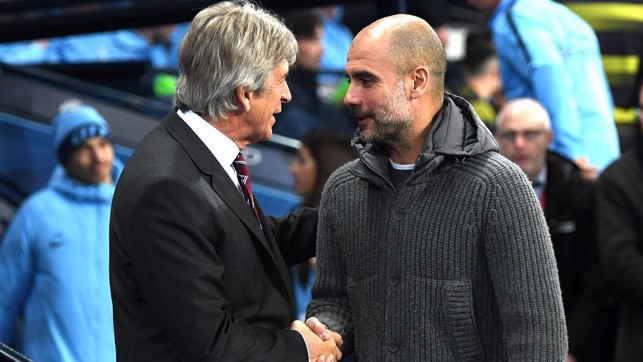 PAST AND PRESENT: Manuel Pellegrini and Pep chat before kick-off