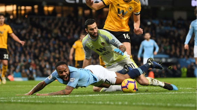 STOP, DROP AND ROLL: An on-fire Raheem Sterling is fouled inside the area