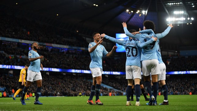HUGS FOR ALL: Gabriel Jesus celebrates his opening goal of the game with his City team mates