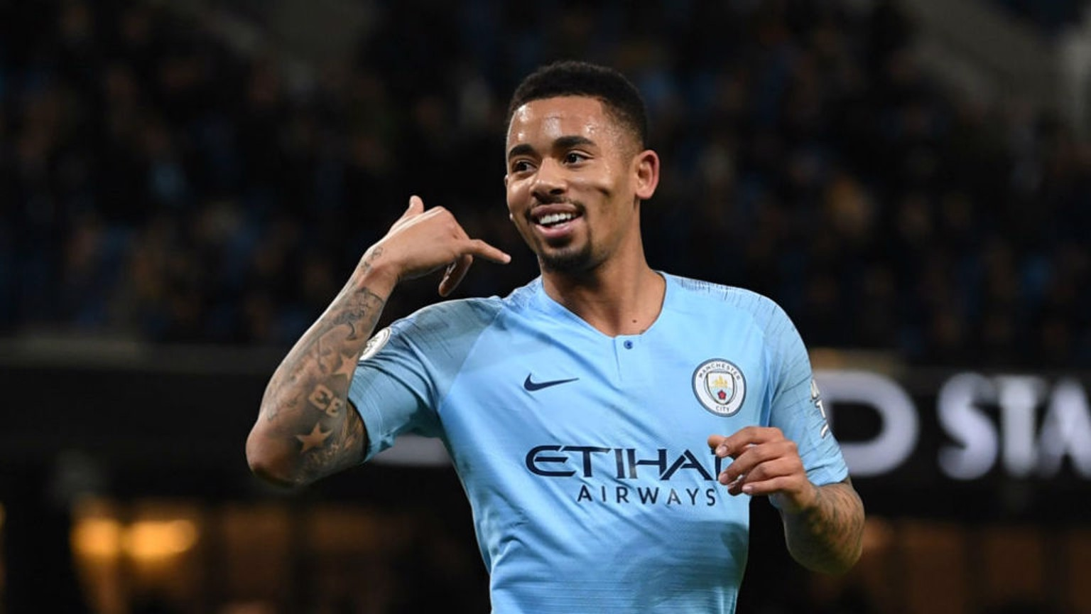 THE BOY ON FIRE: Gabriel Jesus celebrates scoring the opener against Wolves