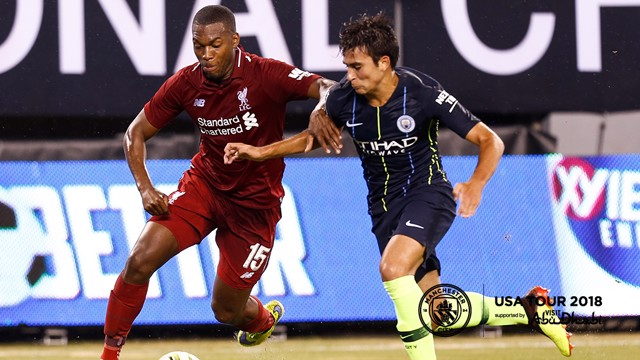 BATTLE: Brahim Diaz and Sturridge battle for the ball