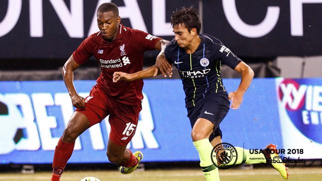 BATTLE: Eric Garcia and Daniel Sturridge battle for the ball