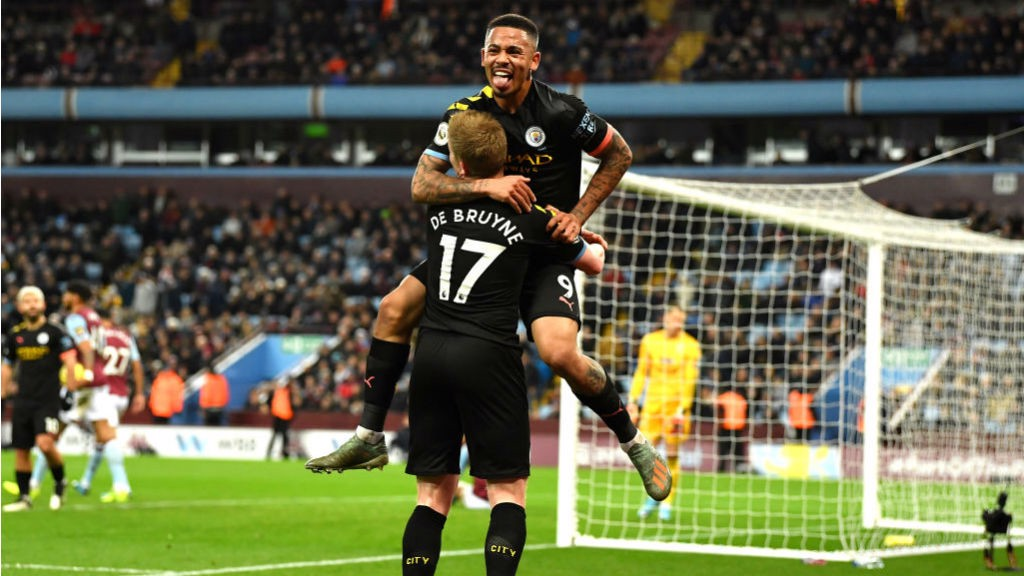 GIFT OF THE GAB: Gabriel Jesus celebrates City's fabulous fourth goal with assist king Kevin De Bruyne