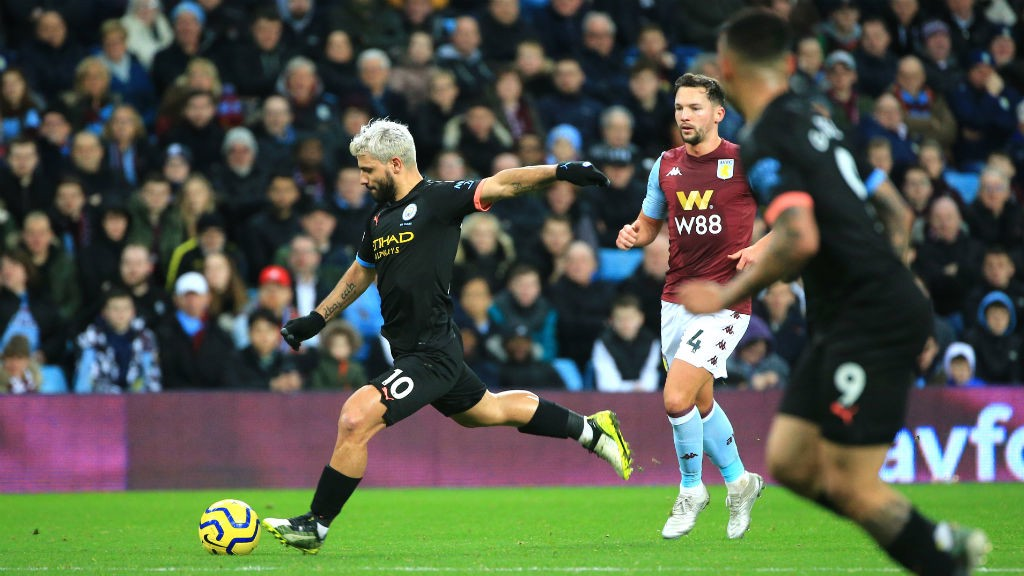 LETHAL WEAPON: Sergio Aguero lets fly for City's third goal