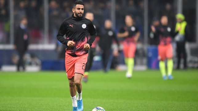 WARMING TO THE TASK: Riyad Mahrez goes through his pre-match routine