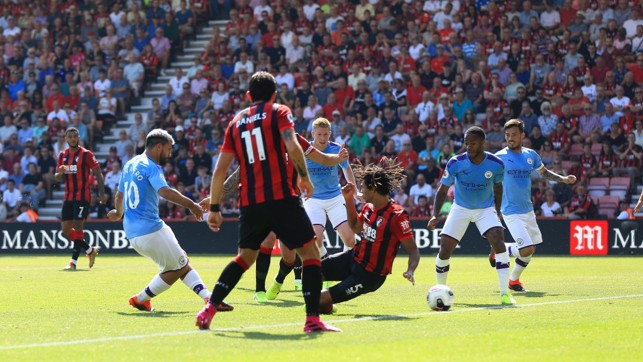 SUPER SERG: Aguero rolls the ball in to put City 1-0 up