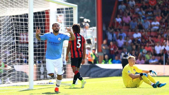 WRAPPED UP: Aguero restored our two-goal lead in the 64th minute.