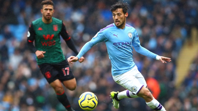 SILVA SERVICE: David Silva looks to unlock the Villa defence