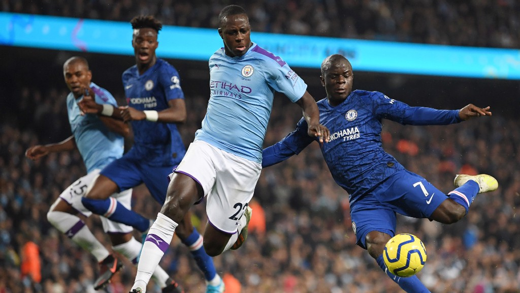 FIRST BLOOD: The visitors strike first, as N'Golo Kante squeezes the ball between Ederson and Benjamin Mendy