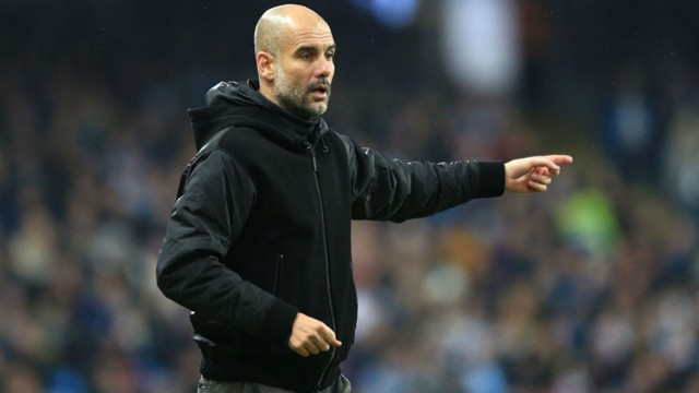BOSS: Guardiola gives out his instructions during the victory over Chelsea.