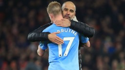 PEP TALK: The boss has hailed KDB's virtuoso display in the win over Leicester