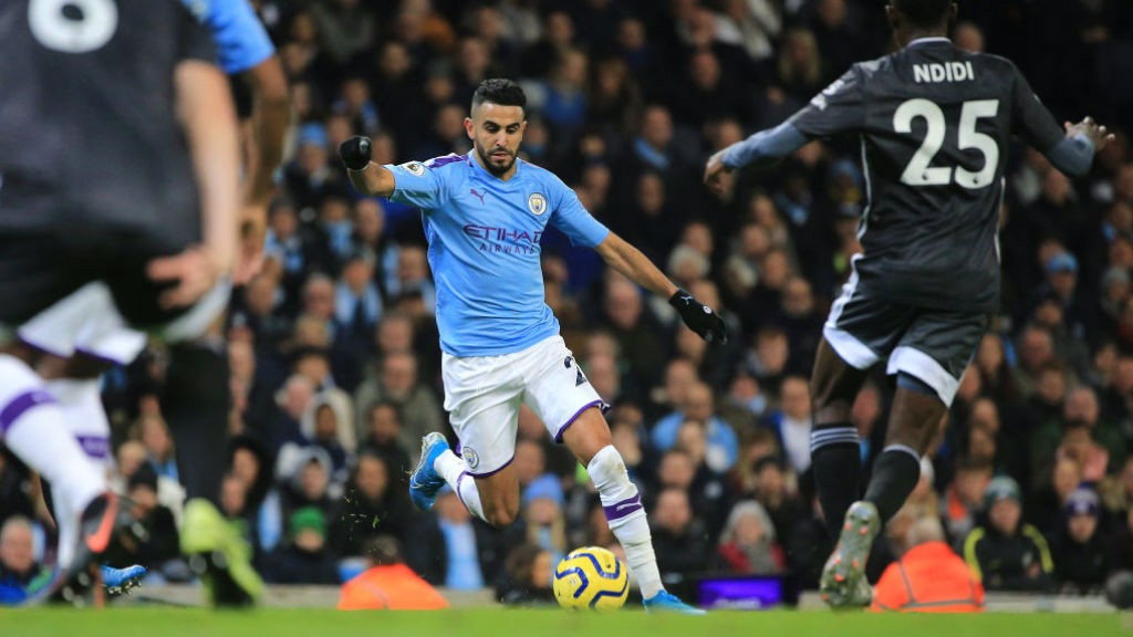 QUICK RESPONSE: Mahrez cuts in and his powerful shot deflects into the net.