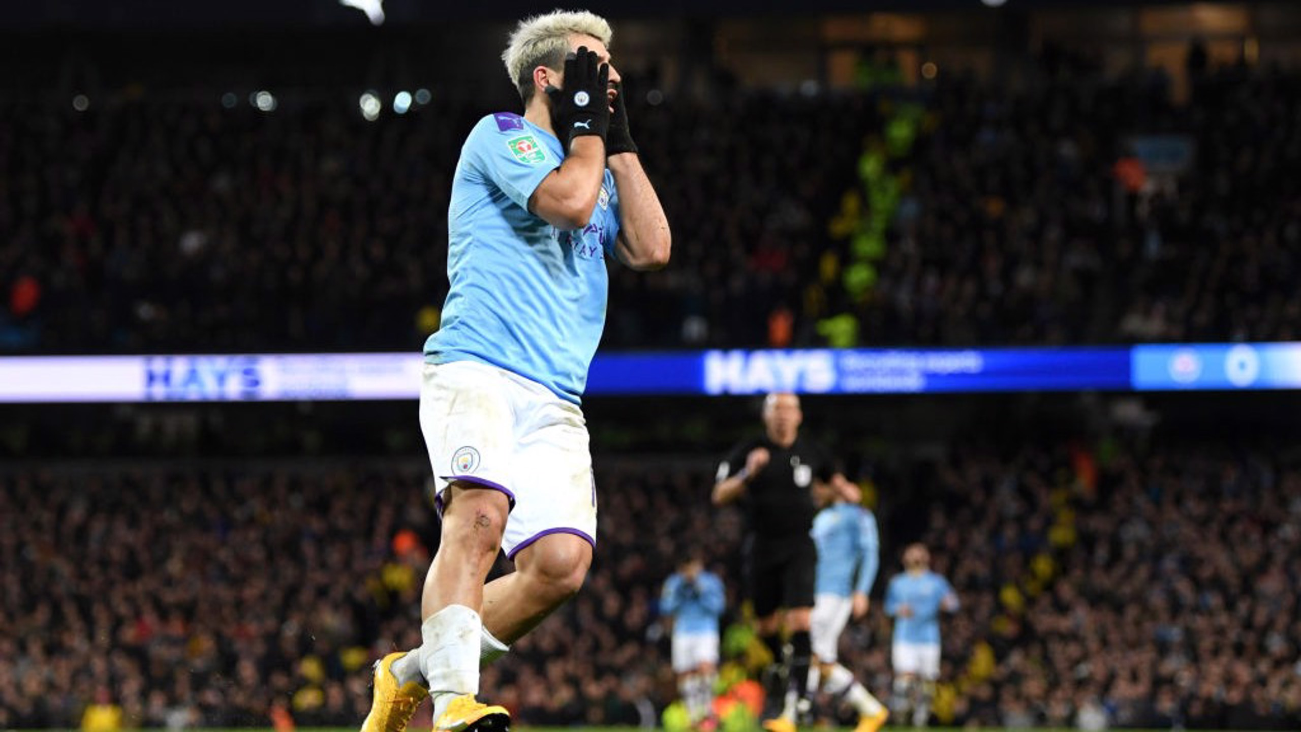DEJA VU: Aguero reacts as his clever finish is ruled out for offside with six minutes remaining.