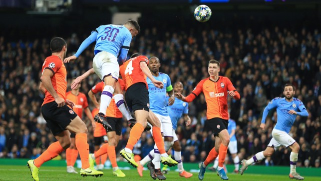 THE GENERAL: Nicolas Otamendi - City's best attacking threat of the first 45 - goes close with a header