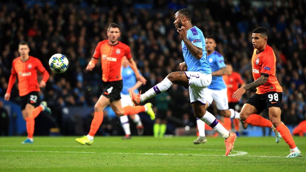 STERLING EFFORT: Raheem Sterling looks to clip the ball over Andriy Pyatov