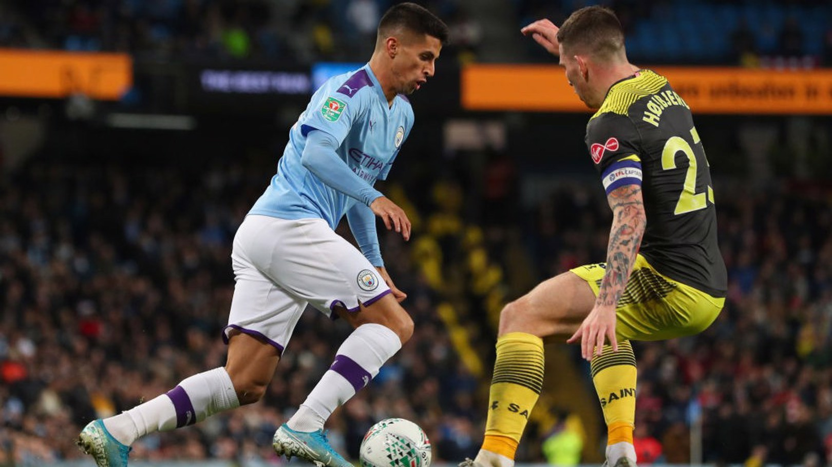VERSATILE: Right and left-back duty for Joao Cancelo, who came off the bench in the second half.