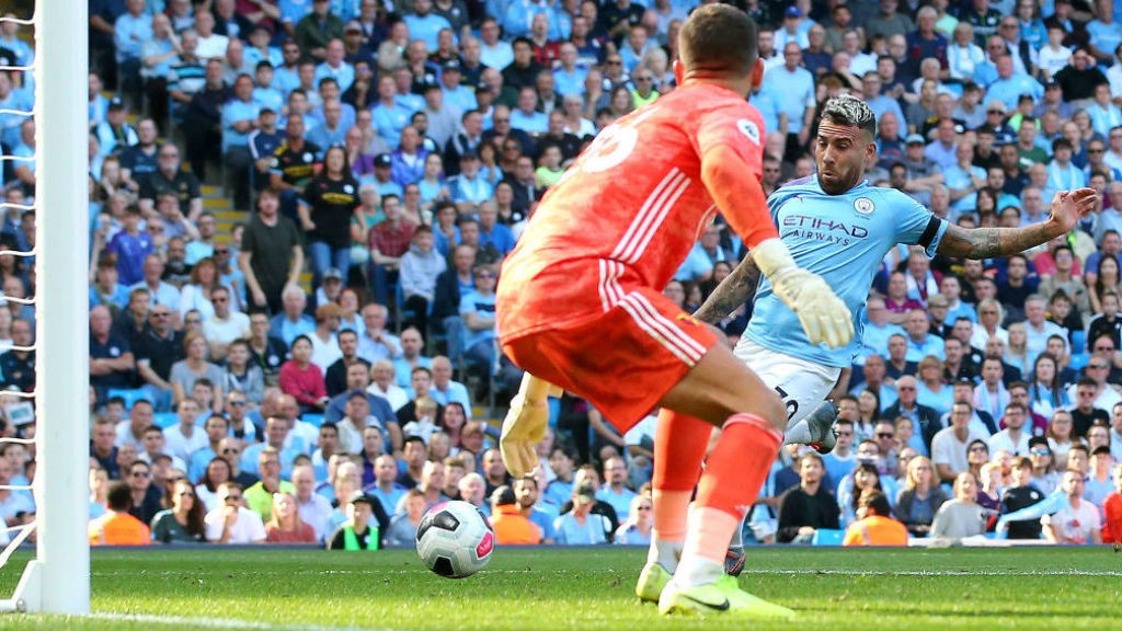 HIGH FIVES: Nicolas Otamendi makes it five inside the first 18 minutes