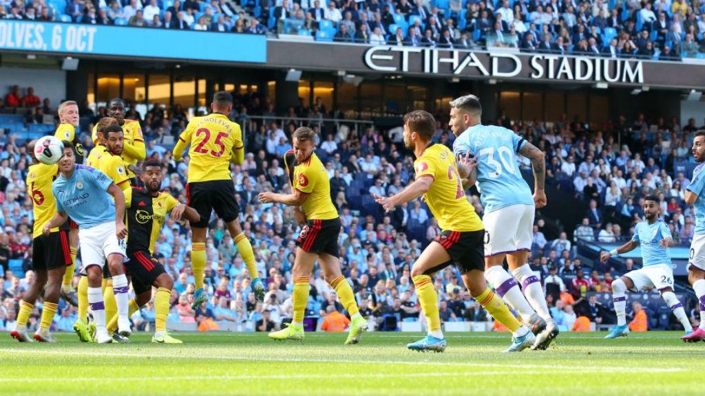 THREE CHEERS: Riyad Mahrez's deflected free-kick makes it 3-0