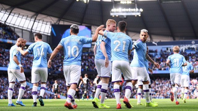 CLINICAL: City celebrate taking an early lead.