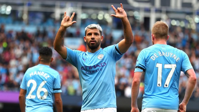 UNSTOPPABLE: Sergio Aguero celebrates after netting his fifth goal of the season.
