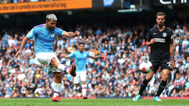 NO MISTAKE: Sergio Aguero doubles City's lead on the stroke of half-time.