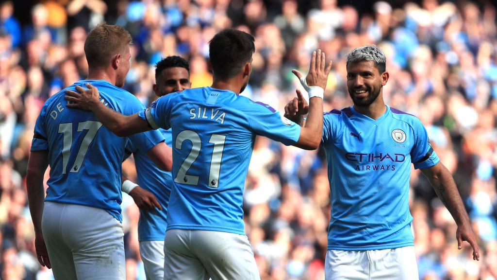 DREAM TEAM: Kevin de Bruyne, David Silva and Sergio Aguero celebrate City's third goal of the afternoon.