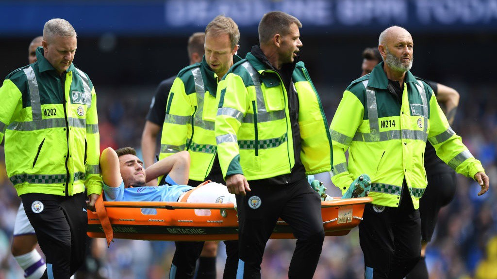 BLOW: Aymeric Laporte is forced off through injury in the first half_