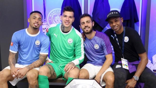 PORTUGEEZERS: Gabriel Jesus, Ederson, Bernardo and Fernandinho celebrate at Wembley.