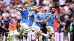 WINNING FEELING: City celebrate the club's sixth Community Shield success.